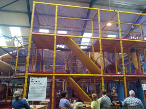 Soft Play area.  Fairly substantial play area with no time restriction. Socks must be worn  but can be bought in the shop for £1